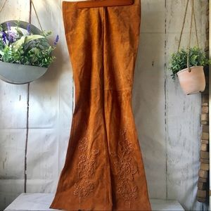 Arden B Leather Suede Tan Hippie Boho Flare Pants